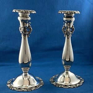 Wallace Silversmiths Baroque Pair Of Silver Plated Candle Sticks Excellent