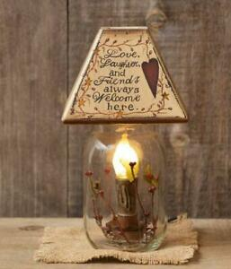 Country Primitive Love Laughter Friends Mason Canning Jar Light Lamp