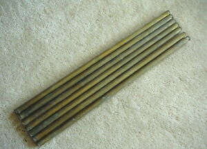 Lot Of Seven Antique Salvaged Brass Bed Tubes Spindles Parts 5 8 X 21 7 8