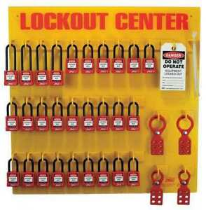 Zing 7116 Lockout Station filled 28 Padlocks