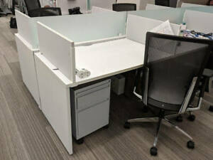 Used Office Cubicles Global Benching 4x2 5 Cubicles