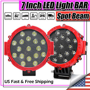 7 Inch 306w Led Pods Work Light Bar Red Round Driving Fog Light Truck Off Road