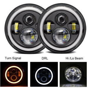 2x 7inch Round 80w Led Headlights Hi lo Beam For 97 17 Jeep Jk Tj Lj Wrangler