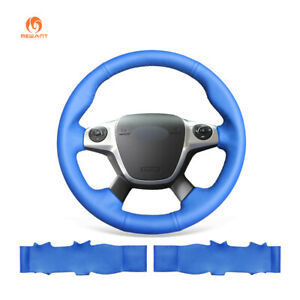 Diy Sew Blue Leather Car Steering Wheel Cover For Ford Focus 3 Kuga Escape C max