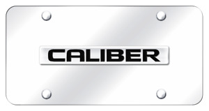 Dodge Caliber Name Chrome On Chrome Plate Stainless Steel License Plate