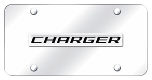 Dodge Charger Name Chrome On Chrome Plate Stainless Steel License Plate