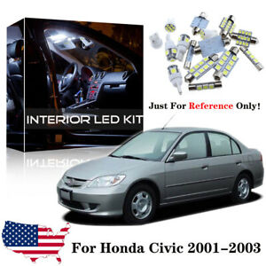 8x White Led Lamp Interior Lights Package Kit For 2001 2002 2003 Honda Civic