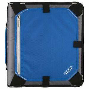 Zipper Binder 2 Inch 3 Ring Binder Expansion Panel Durable Blue bl