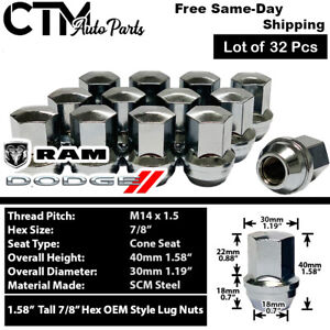 32 Pcs 14x1 5 Dodge Ram 2500 3500 Chrome Oem Factory Style Closed End Lug Nuts