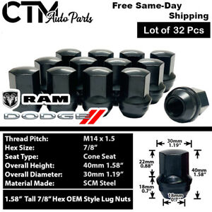 32 Pcs 14x1 5 Dodge Ram 2500 3500 Black Oem Factory Style Closed End Lug Nuts