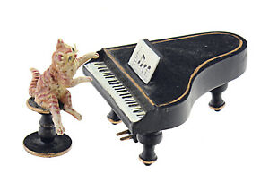 Vintage Vienna Bronze Cat Playing Piano Figurine Vienna Austria Miniature