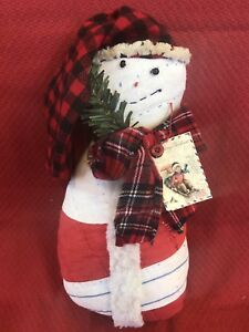 Primitive Snowman Handmade From Vintage Quilt Ooak Christmas Winter Ornament