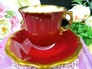 Hammersley Tea Cup And Saucer Ruby Red Gold Gilt Work Full Size Teacup