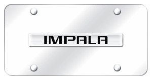 Chevrolet Impala Name Chrome On Chrome Plate Stainless Steel License Plate