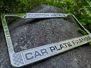 Metal Polished Chrome Personalized License Plate Frame Font Choice
