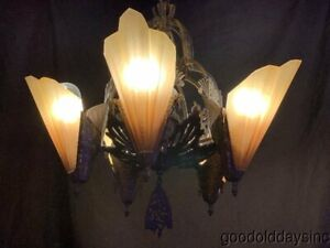 Antique Art Deco Slip Shade Light Fixture Chandelier Lamp Midwest Mfg Soleure