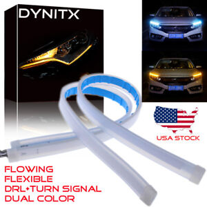 45cm Slim Led Switchback Headlight Sequential Drl Light Strip Ice Blue