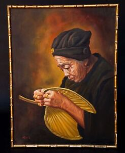 Signed Rock Elder Chinese Woman With Palm Fan Original Oil On Canvas Painting
