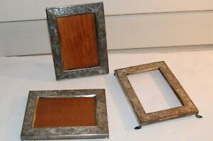 Lot 3 Vintage Silverplate Picture Frames With Wood Back Stands