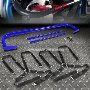 Blue 49 Stainless Steel Chassis Harness Bar Black 4 Pt Strap Camlock Seat Belt