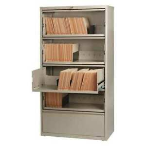 Hirsh 17901 36 Wide Hl8000 Lateral File Cabinet 5 Drawer Roll out Putty