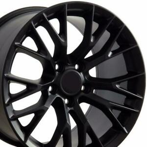 18x8 5 19x10 0 Black Wheels For Chevy Corvette Years 2005 2013 Rims Set 4