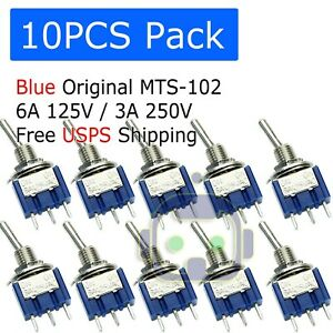 10 Pcs Mini 3 pin Spdt On on Toggle Switches 6a 125vac 3a 250vac Mts 102