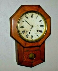 Antique 8 Day Seth Thomas Short Drop Wall Regulator Chime Clock Working Mvt 89k