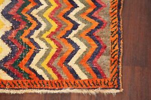 Vintage Color Full Zig Zag Hand Made Gabbeh Area Rug Oriental Wool Carpet 3 X6