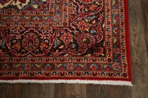 Vintage Traditional Floral Large Red Area Rug Hand Knotted Oriental Carpet 9x13