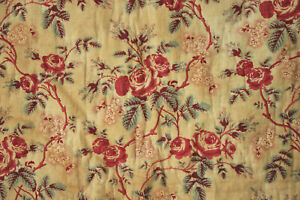 Chintz Fabric Antique Quilt Fragment 1850 Quilted Pink Red Floral Textile Roses