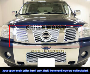 Fits 04 07 Nissan Titan armada Stainless Steel Punch Grille Insert
