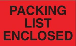 Tapecase 16u831 Shipping Labels 3 Packing List Enclosed Red Pk500