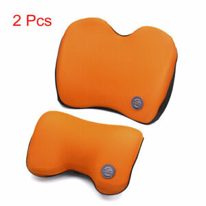 Orange Black Memory Foam Waist Support Neck Head Rest Pillow Cushion Set For Car