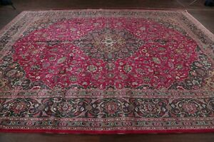 Vintage Fuchsia Pink Traditional Floral Kashmar Area Rug Hand Made Wool 10x13