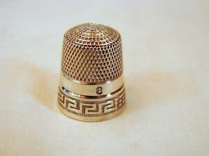 Old Sterling Silver No 8 Sewing Thimble Simons Bros Excellent Condition