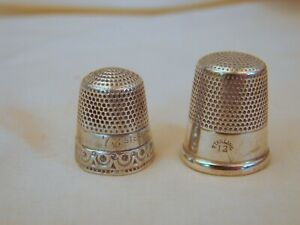 2 Old Sterling Silver Sewing Thimbles Some Damage Dented Hole Worn 7