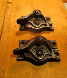 Ornate Iron Window Latch Sash Lock Hardware Circa 1890