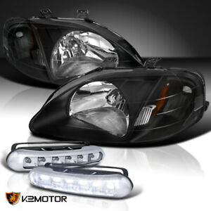 For 99 00 Jdm Black Honda Civic Dx Ex Lx Si Headlights bumper Led Fog Lamps