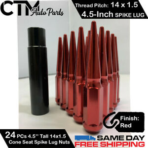 24pc 4 5 Red 14x1 5 Spike Wheel Lug Nuts Key Fit Ford Chevy Gmc More
