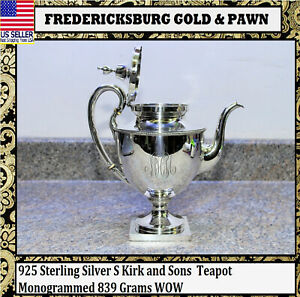 925 Sterling Silver S Kirk And Sons Teapot Monogrammed 839 Grams Wow