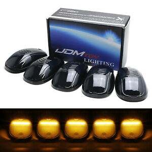 5pcs Cab Roof Clearance Marker Lamps W Amber Strip Led Lights For Most Trucks