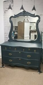 Antique Victorian Painted French Provintal Sepentine Chest Dresser