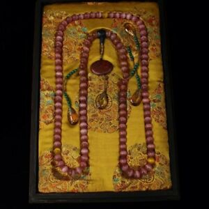 Chinese Qing Dynasty Court Collection Pink Cat Eye Gem Official Necklace Box
