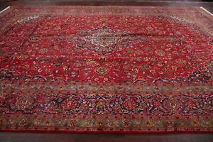 Large Antique 10x15 Red Traditional Floral Area Rug Hand Knotted Oriental Carpet