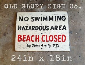 Jaws Beach Closed No Swimming Wood Movie Sign Art Amity Police Shark Beach Pool
