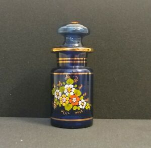 Cobalt Blue Apothecary Painted Jar Vanity Canister W Hand Blown Lid