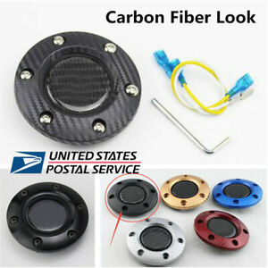 Universal Carbon Fiber Look Racing Car Steering Wheel Horn Button Cover Kit Usa