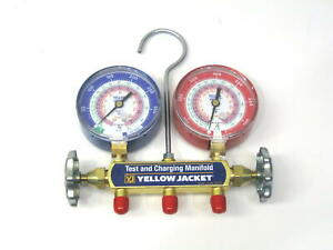 Yellow Jacket Manifold Gauge 42001 No Hoses For R22 R410a R404a 3 1 8 In Gauges