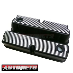 Sbf Ford 289 302 351w 5 0l Aluminum Black Finned Valve Cover Mustang Small Block